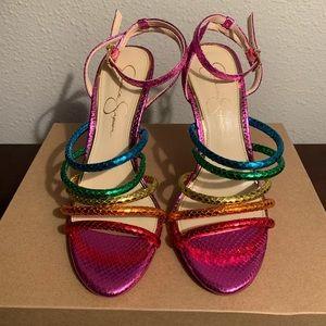 Metallic Rainbow Sandal Heels